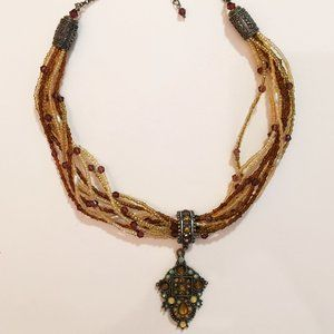 Unique Beaded Necklace With Silver Toned Pieces